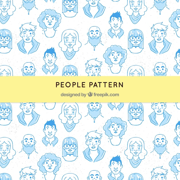 People pattern in hand drawn style Free Vector