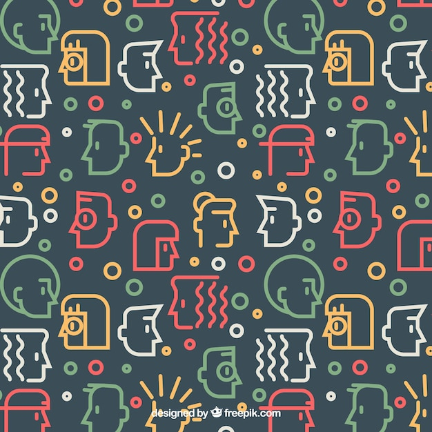 People pattern with faces silhouette Free Vector