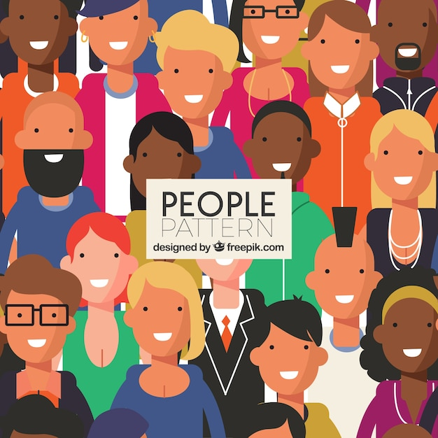 People pattern with faces Free Vector