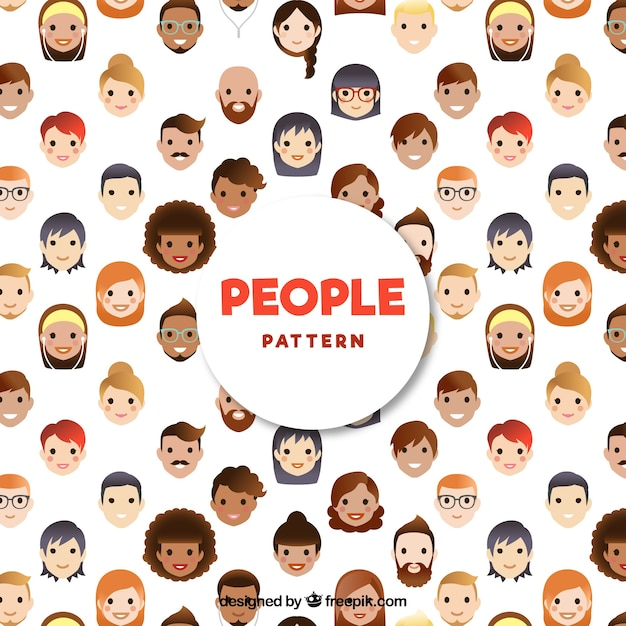 People pattern with flat design Free Vector