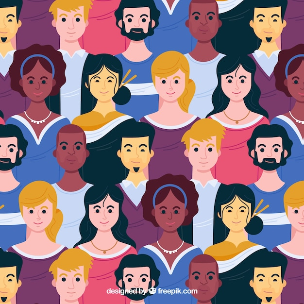 People pattern with hand drawn style Free Vector