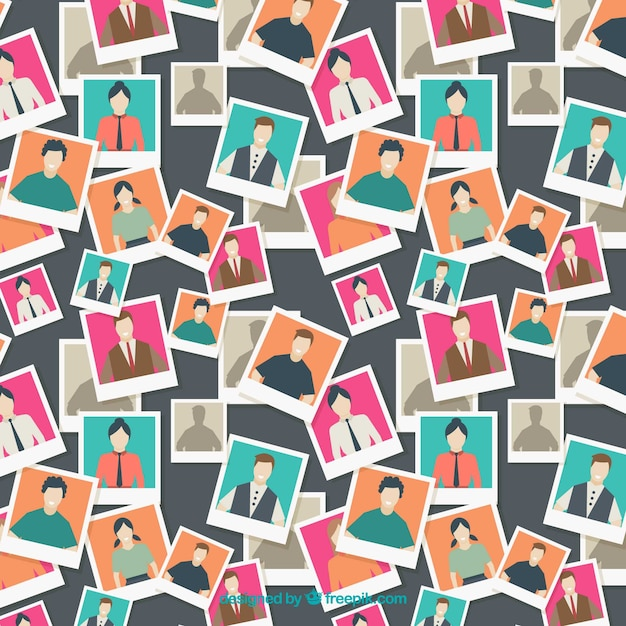 People pattern with photos Free Vector