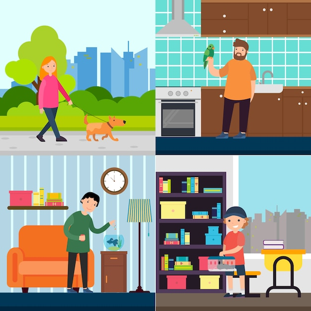 People and pets concept Free Vector