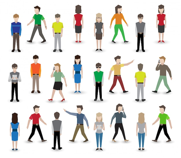 People pixel characters Free Vector