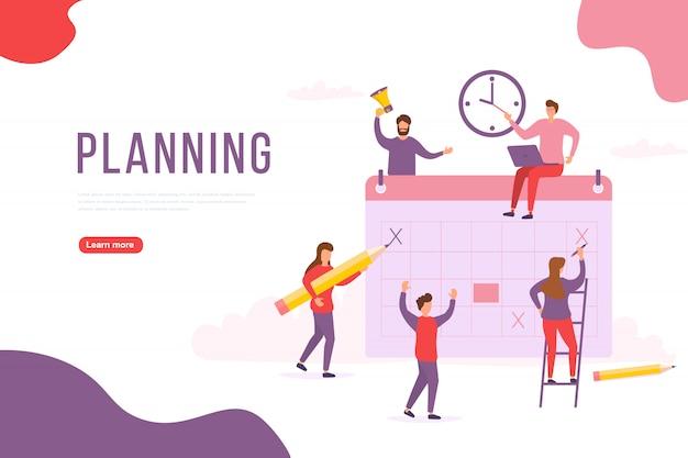 人々の計画の概念。グループのキャラクターは人々が計画を立てています。プロジェクト管理と財務報告戦略。 webバナー、インフォグラフィック、ヒーロー画像に使用できます。図。 Premiumベクター