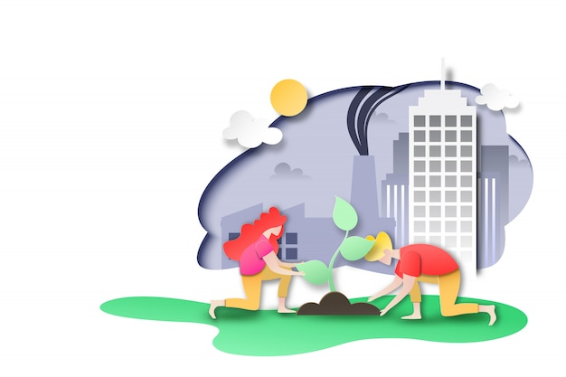 People plant tree at city with factory and pollution. Premium Vector