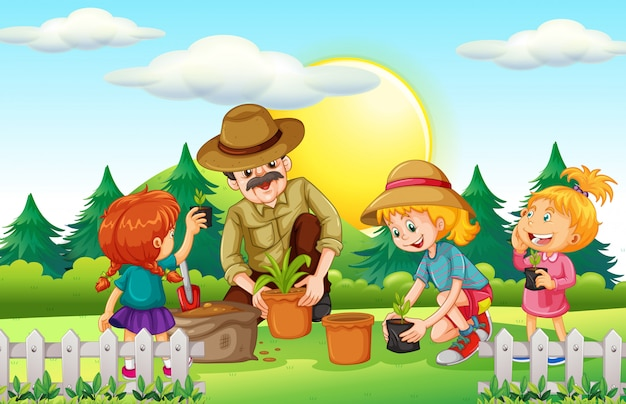 People planting tree in the park Free Vector