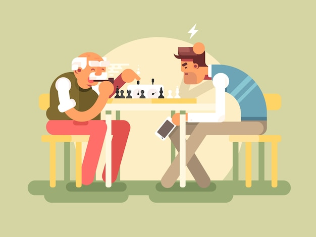 People play chess Premium Vector