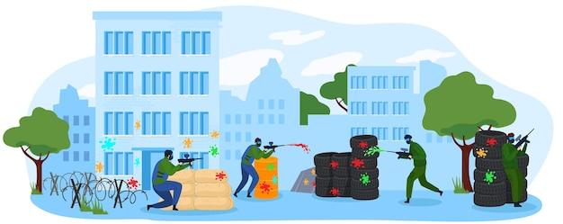 人々はペイントボールゲームフラットベクトル図を再生します。マーカー銃で撮影、ペイントボールをプレイマスクを身に着けている漫画プレーヤーのキャラクターチーム。趣味活動 Premiumベクター
