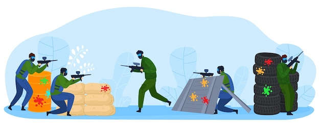People play paintball game flat vector illustration. cartoon player fighter warrior characters shooting with marker gun weapons, playing paintball, military sport fight Premium Vector