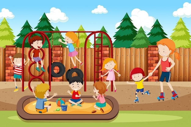 People at the playground Free Vector