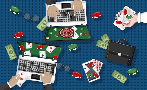 People playing casino on laptop and mobile phone Premium Vector