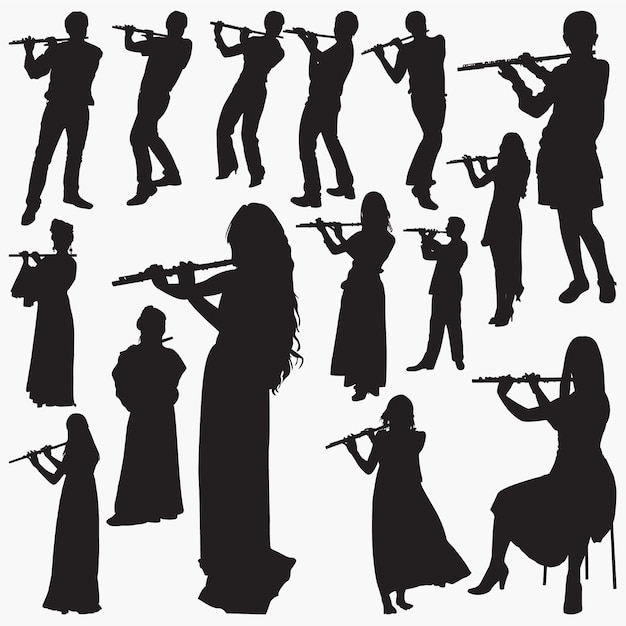 People playing flute silhouettes Premium Vector