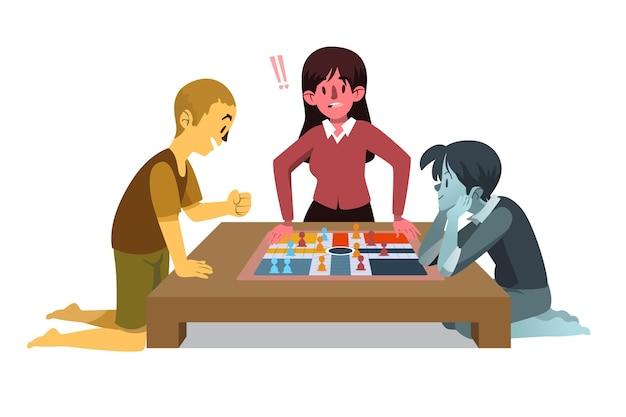 Люди играют в лудо-игру Бесплатные векторы