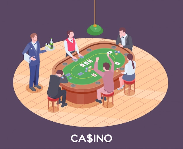 People playing poker in casino hall isometric composition 3d Free Vector