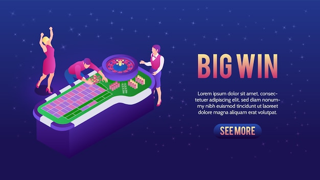 People playing roulette and winning in casino banner Free Vector