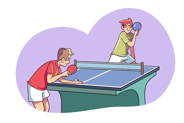 卓球をしている人の手描きデザイン Premiumベクター