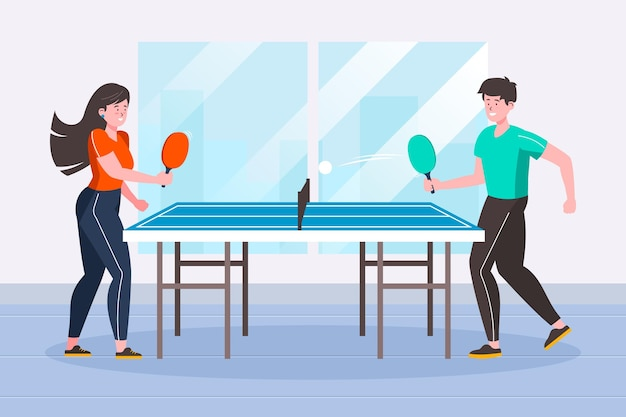 Люди играют в настольный теннис Бесплатные векторы