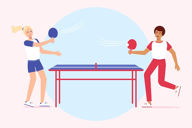People playing table tennis Free Vector