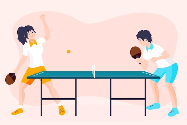 People playing table tennis Premium Vector