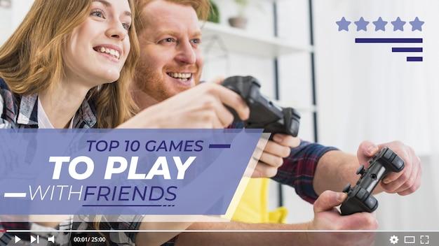 ビデオゲームyoutubeサムネイルをプレイしている人 無料ベクター