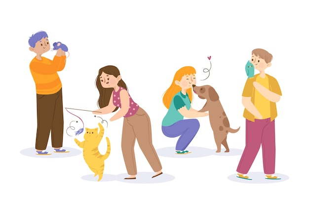 People playing with different pets Free Vector