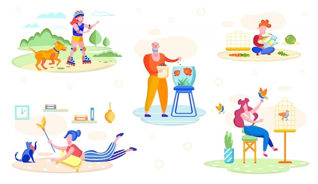 People playing with pets flat vector concept Premium Vector