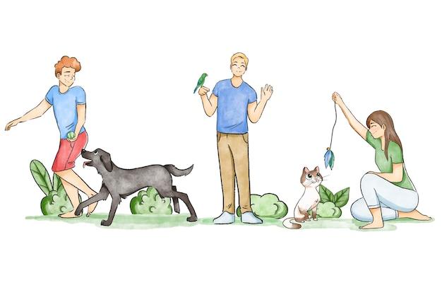 Persone che giocano con animali domestici all'aperto Vettore gratuito