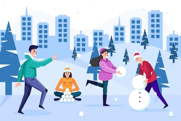 雪遊び人 無料ベクター