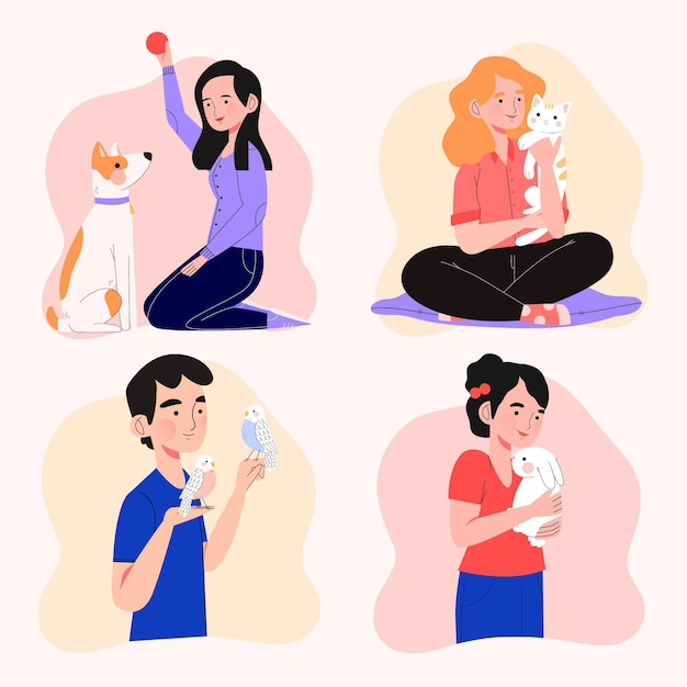 People playing with their pets design Free Vector