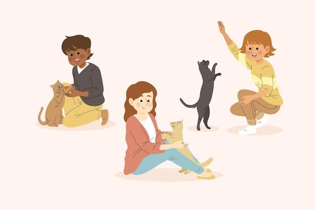 ペットをテーマに遊んでいる人 無料ベクター