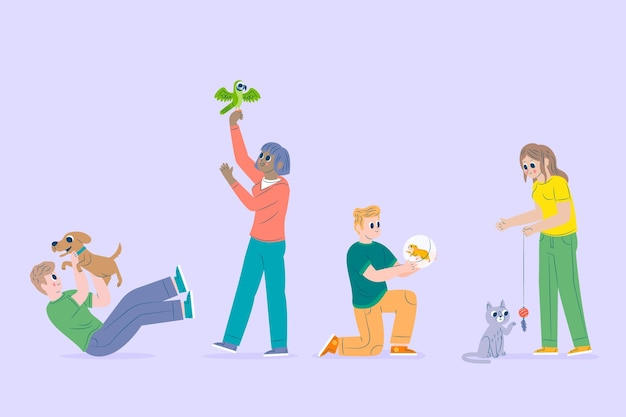 People playing with their pets Free Vector