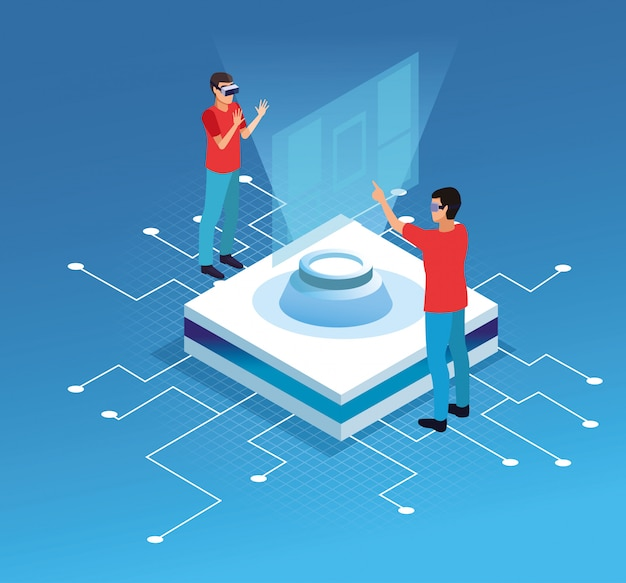 People playing with virtual reality technology Free Vector