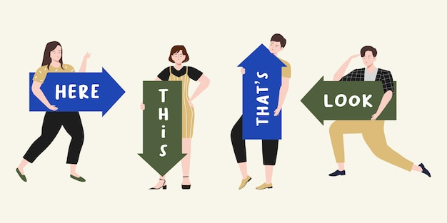 People pointing up, down, left, right and holding big direction arrow with text space illustration. male and female do guide direction Premium Vector
