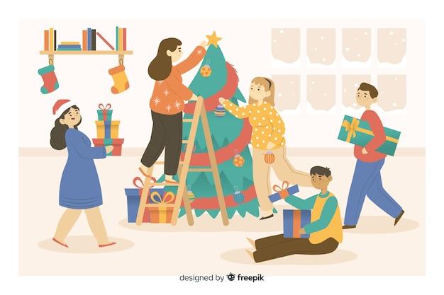People preparing christmas tree cartoon Free Vector