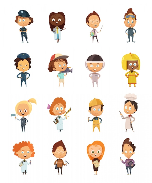 People professions cute cartoon icons Free Vector