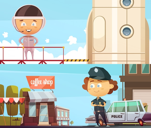 People professions two horizontal banner  with cute cartoon kids in suits of policeman and astronaut Free Vector