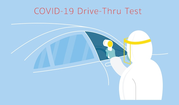 People in protective suit use thermoscan to check , coronavirus, drive thru test Premium Vector