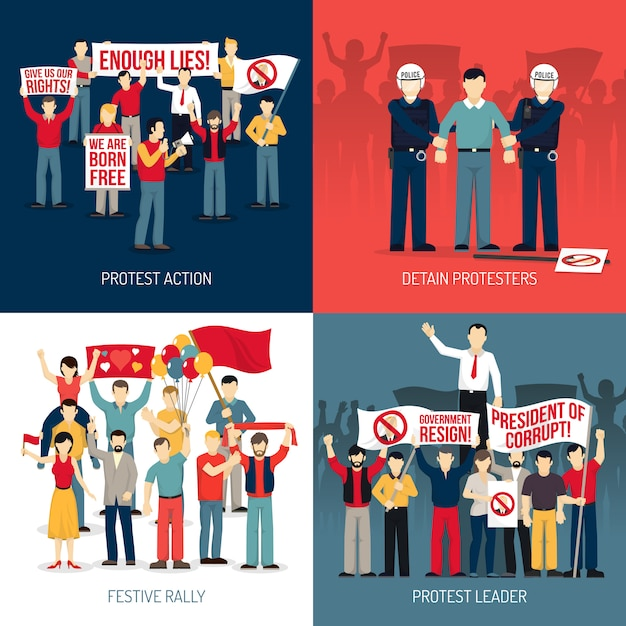 People at protest card set Free Vector