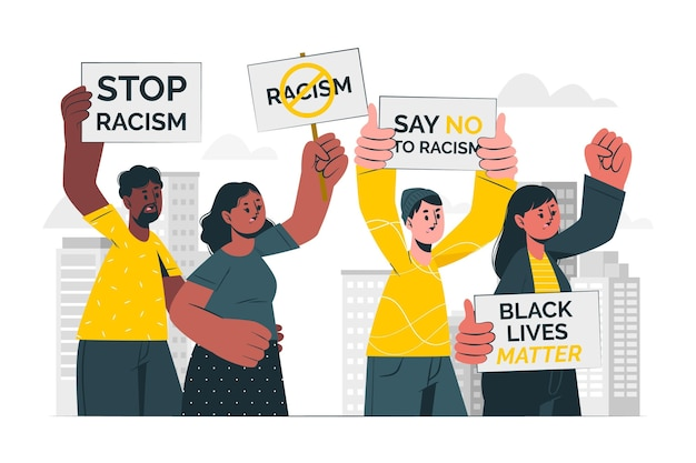 인종 차별주의 개념 그림에 항의하는 사람들 무료 벡터