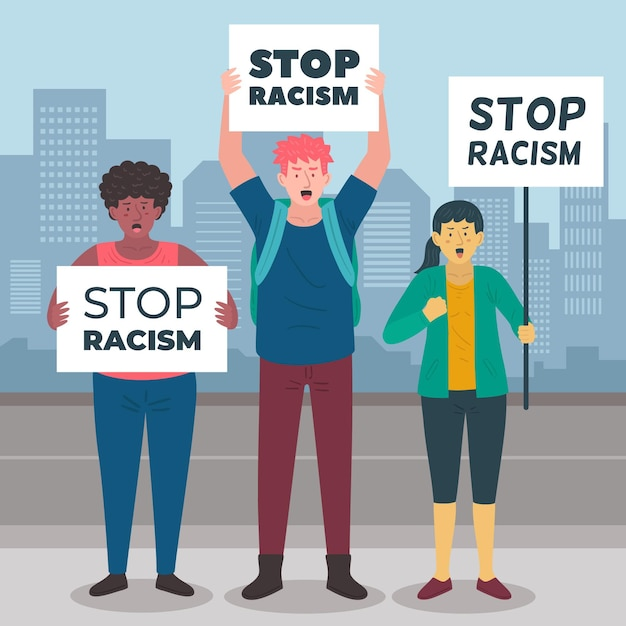 People protesting against racism Free Vector