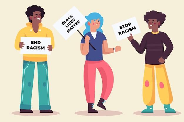 Люди протестуют и разговаривают друг с другом Бесплатные векторы