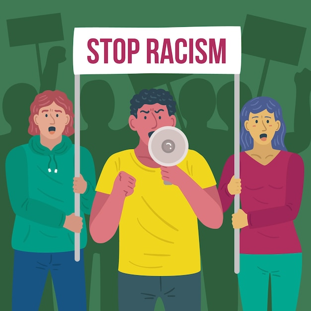People protesting together against racism Free Vector