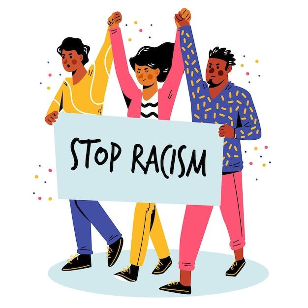 Persone che protestano insieme per il movimento di arresto del razzismo Vettore gratuito