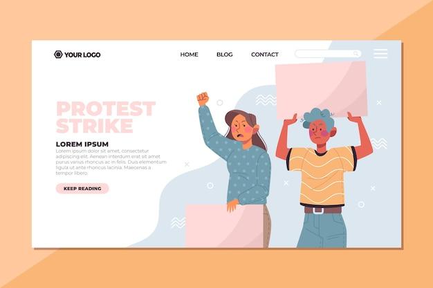 プラカードのランディングページで抗議している人々 無料ベクター