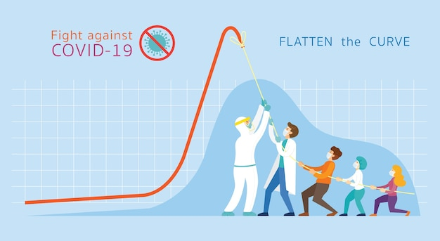 , people pull down graph chart, ten the curve concept Premium Vector
