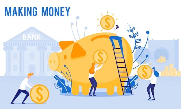 People put money in piggy bank Premium Vector