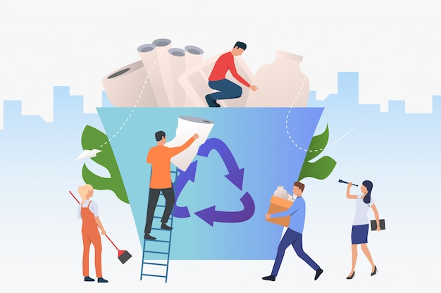 People putting garbage into big recycling bin Free Vector