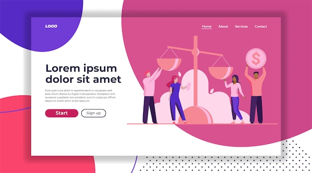 People putting money on scale landing page template Free Vector
