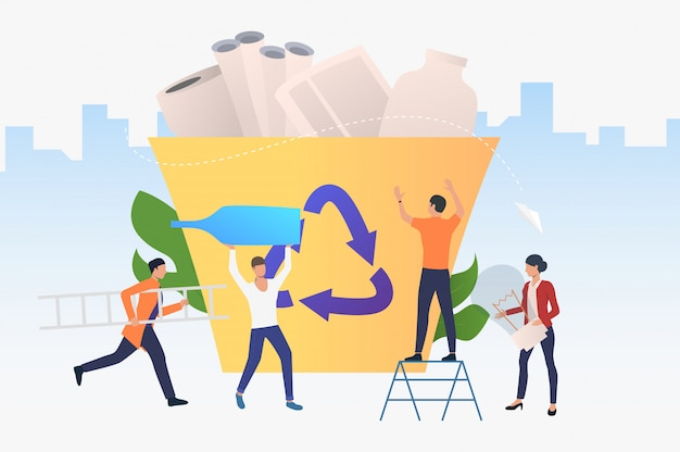 People putting rubbish into recycling bin, holding bottle, bulb Free Vector